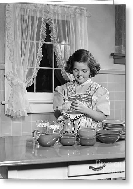 Girl Drying Dishes, C.1950s Greeting Card by H. Armstrong Roberts/ClassicStock