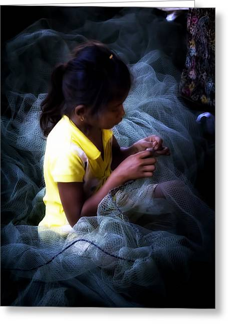 Tonle Greeting Cards - Girl Fixing Nets Greeting Card by Georgia Fowler