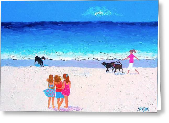 Beach House Decor Posters Greeting Cards - Girl friends - Beach Painting Greeting Card by Jan Matson