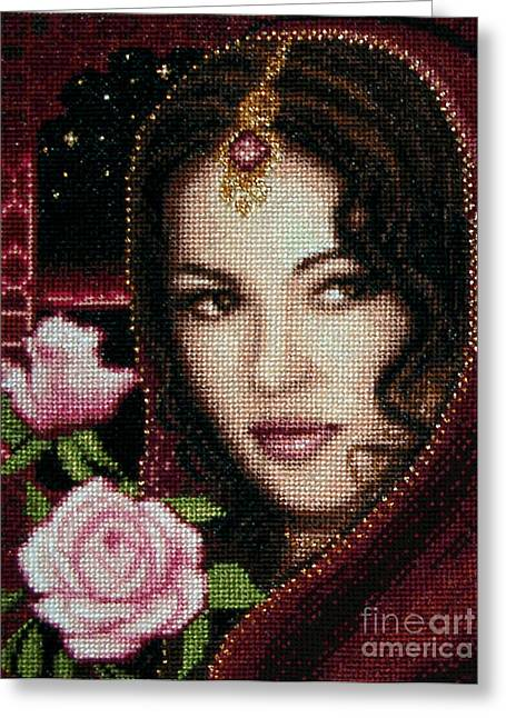 Shade Tapestries - Textiles Greeting Cards - Girl from Alhambra Greeting Card by Stoyanka Ivanova