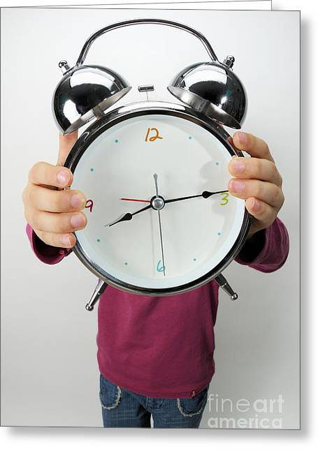 Children Only Greeting Cards - Girl holding alarm clock over face Greeting Card by Sami Sarkis