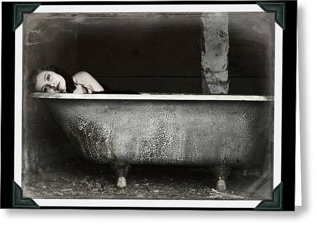 Girl In A Bath Tub  Greeting Card by Pamela Patch
