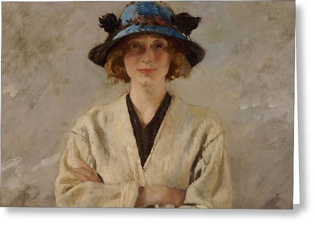 Girl In A Blue Hat, 1912 Greeting Card by Sir William Orpen