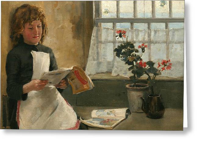 Interior Still Life Paintings Greeting Cards - Girl in a Cottage Window Greeting Card by Norman Garstin