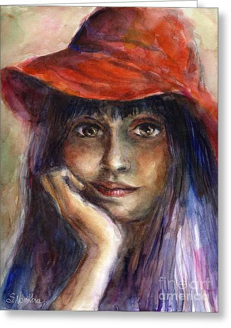 Pensive Drawings Greeting Cards - Girl in a red hat portrait Greeting Card by Svetlana Novikova