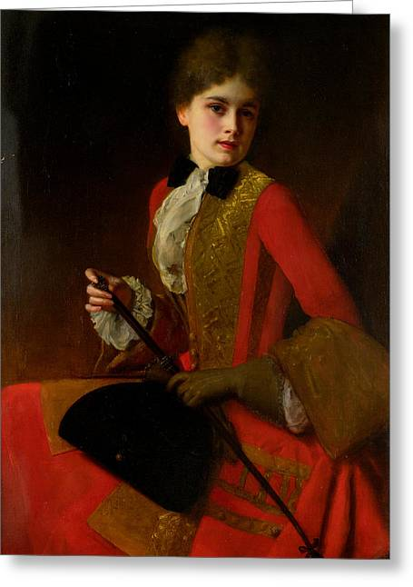 Girl In A Riding Outfit Greeting Card by Gustave Jean Jacquet