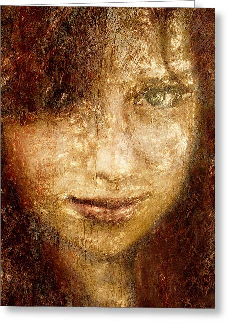 Natural Makeup Greeting Cards - Girl In A Window Greeting Card by Jeff  Gettis
