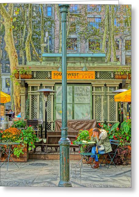 Bryant Pastels Greeting Cards - Girl in Bryant Park Greeting Card by Alexander Popescu