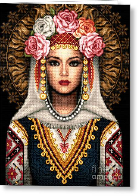 Dress Tapestries - Textiles Greeting Cards - Girl in Bulgarian national costume Greeting Card by Stoyanka Ivanova