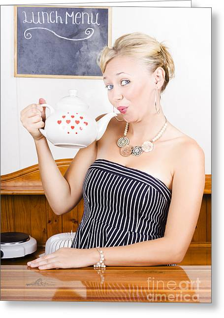 Proprietor Greeting Cards - Girl In Cafe Serving Hot Coffee With Heart Teapot Greeting Card by Ryan Jorgensen