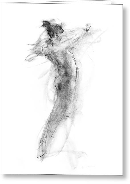 Nude Drawings Drawings Greeting Cards - Girl in Movement Greeting Card by Christopher Williams