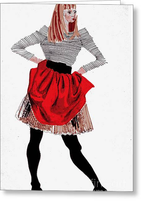 Recently Sold -  - Twiggy Greeting Cards - Girl In Red Skirt Greeting Card by Genevieve Esson