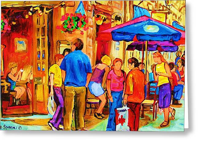 GIRL IN THE CAFE Greeting Card by CAROLE SPANDAU