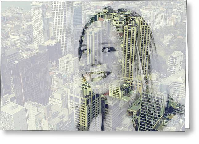 Person Greeting Cards - Girl in the city Greeting Card by Patricia Hofmeester