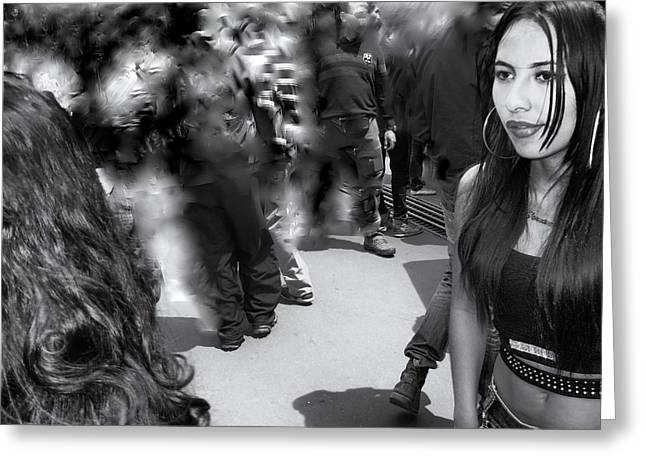 Long Street Greeting Cards - Girl in the Crowd Greeting Card by Daniel Gomez
