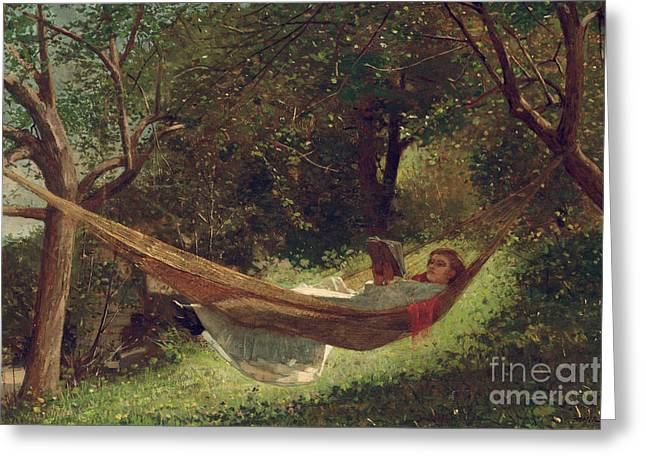 Girl In The Hammock Greeting Cards - Girl in the Hammock Greeting Card by Winslow Homer