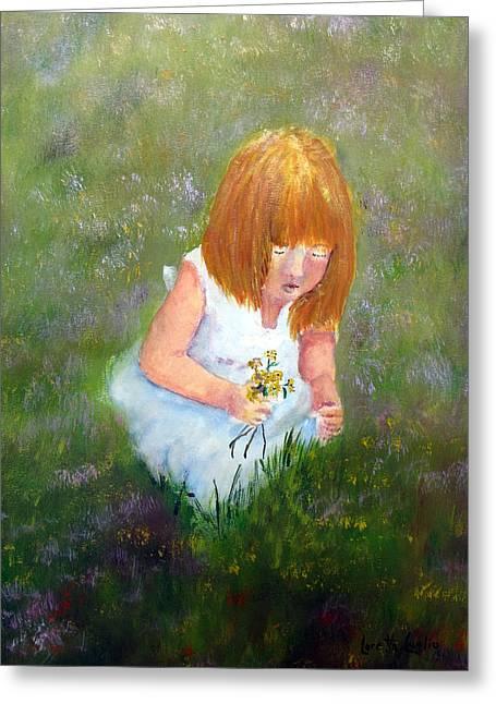 Girl In The Meadow Greeting Card by Loretta Luglio