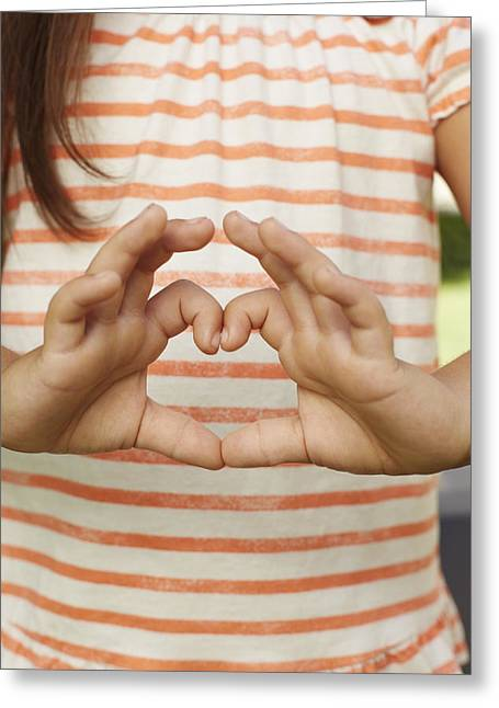 Caucasian Greeting Cards - Girl Making Heart Shape With Fingers Greeting Card by Ink and Main