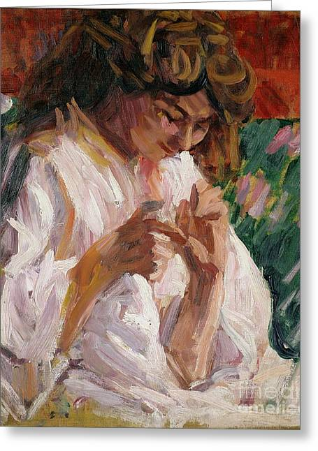 Crocheting Greeting Cards - Girl Mending Greeting Card by Roderic OConor