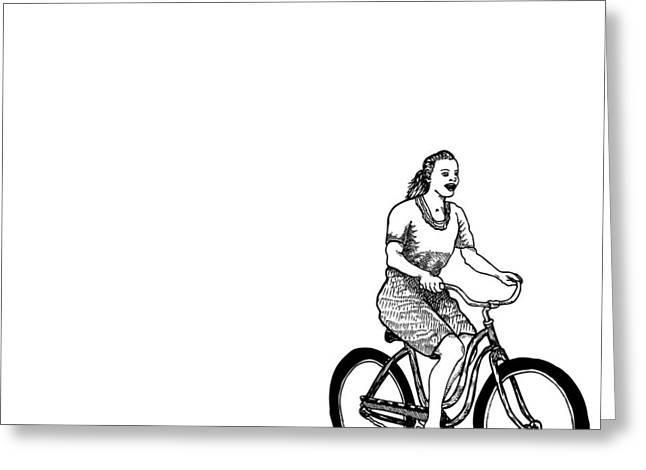 Bike Riding Drawings Greeting Cards - Girl on a Bike Greeting Card by Karl Addison