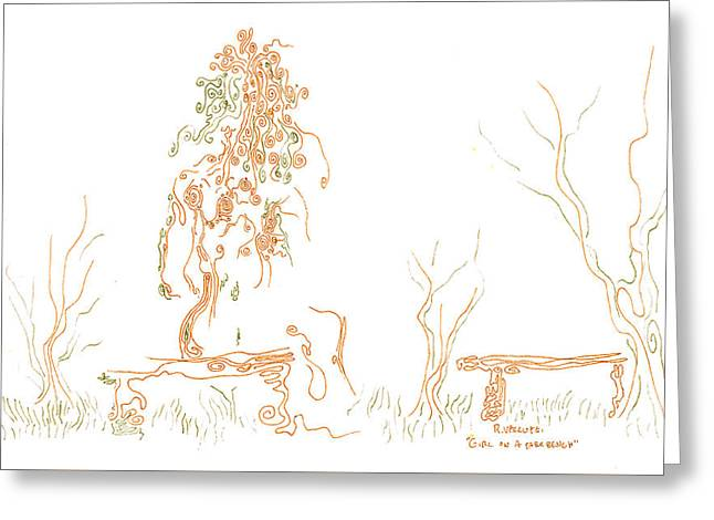 Park Benches Drawings Greeting Cards - Girl on a Park Bench Greeting Card by Regina Valluzzi