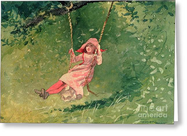 On Paper Paintings Greeting Cards - Girl on a Swing Greeting Card by Winslow Homer