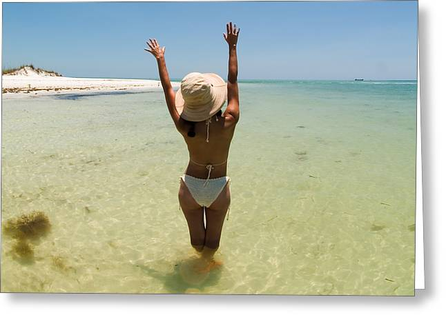 Beaches Greeting Cards - Girl on Beach waving to Airplane Greeting Card by Rolf Bertram