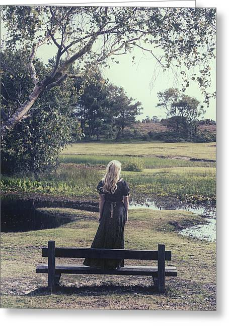 Beautiful Young Woman Greeting Cards - Girl On Bench Greeting Card by Joana Kruse