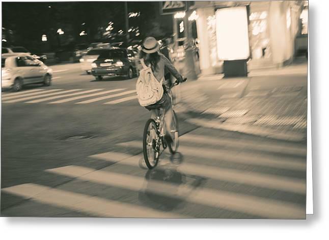 Girl On Bicycle Greeting Card by Konstantin Sevostyanov