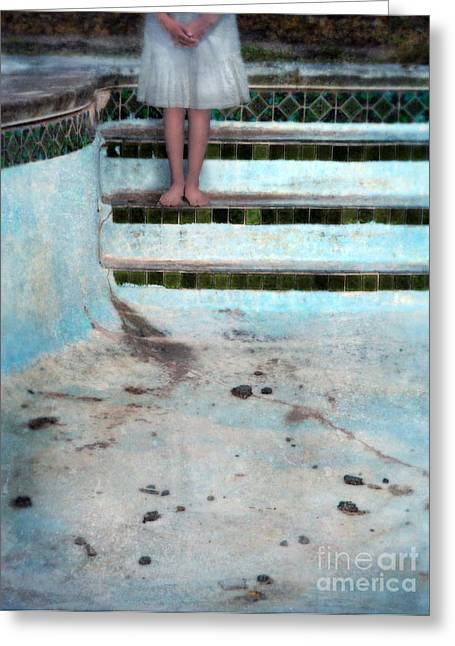 Young Lady Photographs Greeting Cards - Girl on Steps of Empty Pool Greeting Card by Jill Battaglia