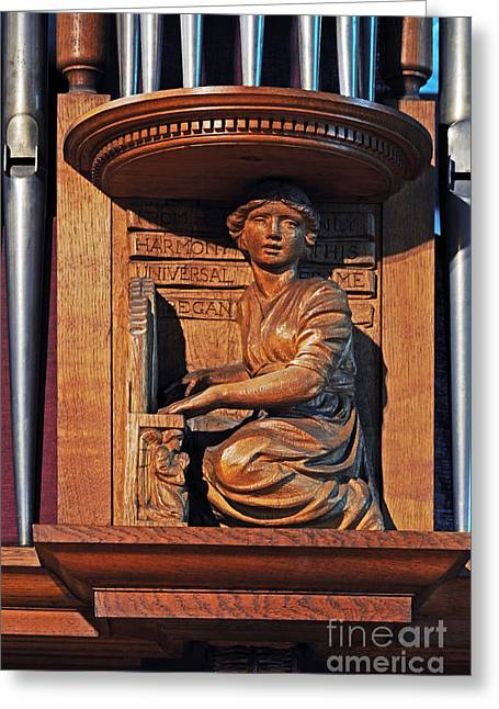 Wooden Sculpture Greeting Cards - Girl playing organ. Greeting Card by Stan Pritchard