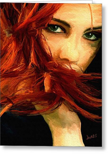 Girl Portrait 08 Greeting Card by James Shepherd