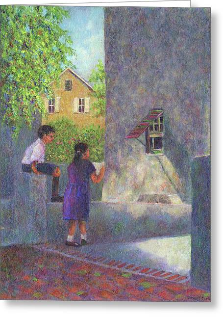 Awnings Greeting Cards - Girl Reading a Letter Greeting Card by Susan Savad
