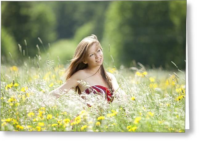 Girl Revolves Cheerfully In A Meadow Greeting Card by Wolfgang Steiner