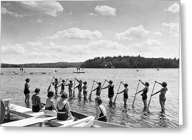 Girl Scout Canoe Lessons Greeting Card by Underwood Archives