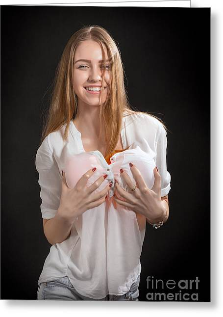 Large Breasts Greeting Cards - Girl Shows Big Breast Greeting Card by Aleksey Tugolukov