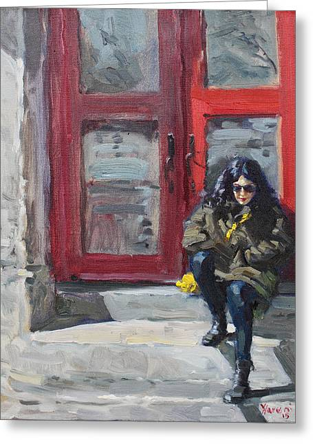 Red Doors Greeting Cards - Girl Sitting at Red Doorstep Greeting Card by Ylli Haruni