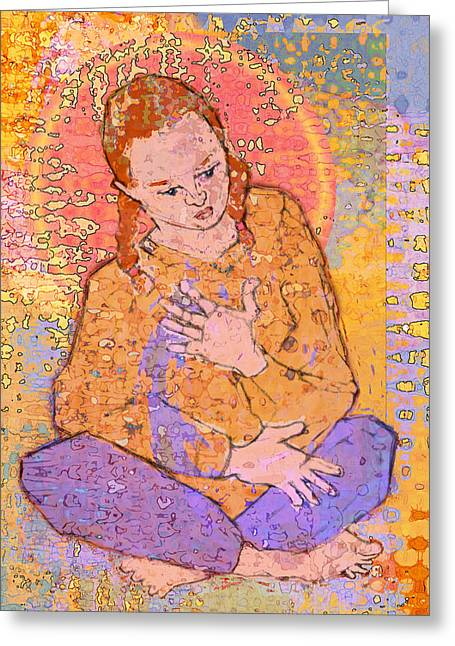 Mary Ogle Greeting Cards - Girl Sitting with Legs Crossed Greeting Card by Mary Ogle