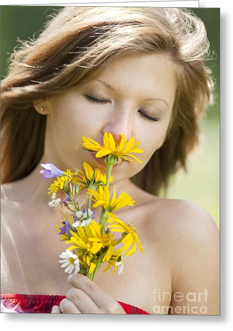 Joy Greeting Cards - Girl smelling flowers Greeting Card by Wolfgang Steiner