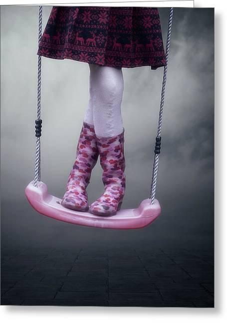 Rubber Boot Greeting Cards - Girl Swinging Greeting Card by Joana Kruse
