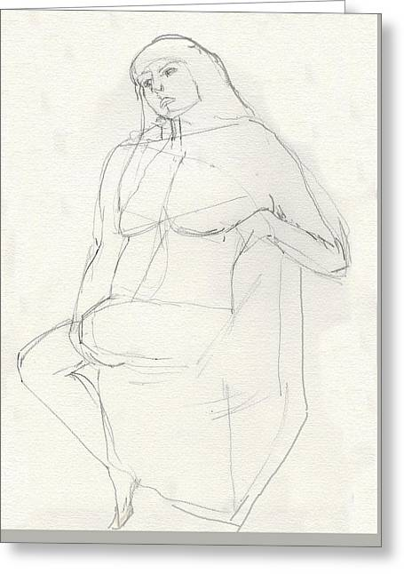 Life Line Pastels Greeting Cards - Girl Thinking  Greeting Card by Elizabetha Fox