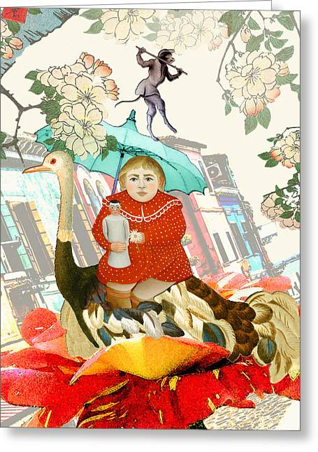 Girl Under Blossoms. Greeting Card by Bernie's  Art Prints