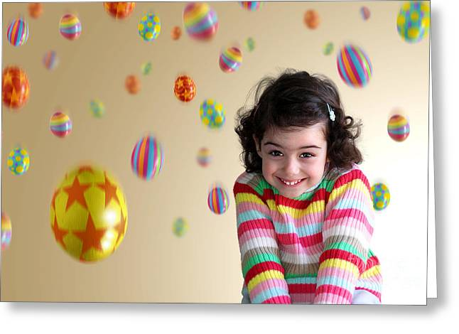 Granddaughter Greeting Cards - Girl Under Eggs Greeting Card by Carlos Caetano