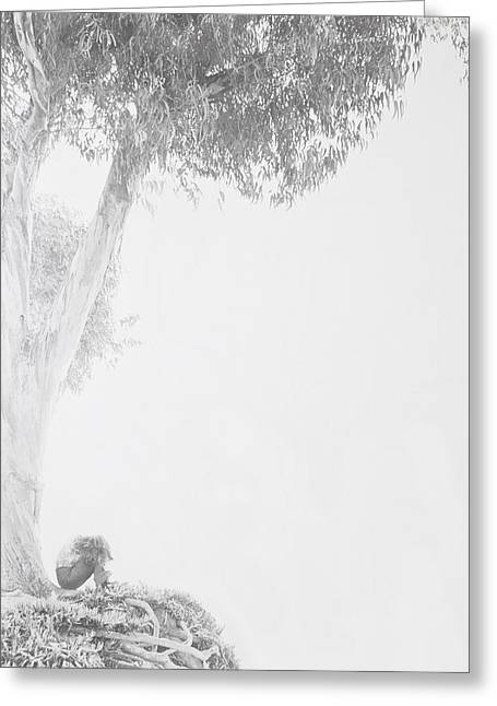 Subdued Greeting Cards - Girl under tree Greeting Card by Garry Gay