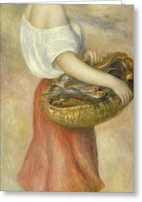 Famous Artist Greeting Cards - Girl With A Basket Of Fish Greeting Card by Auguste Renoir