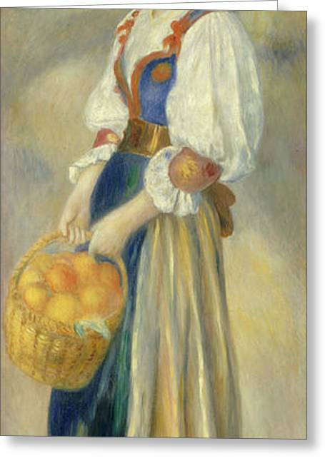 Famous Artist Greeting Cards - Girl With A Basket Of Oranges Greeting Card by Auguste Renoir