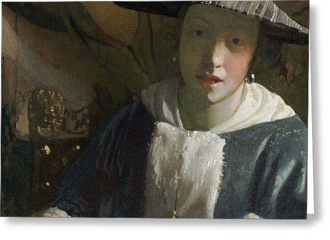 Girl With A Flute Greeting Card by Attributed To Johannes Vermeer