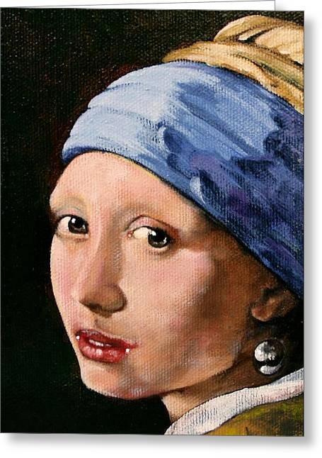 Old Masters Greeting Cards - Girl with a Pearl Earring a Reproduction of Vermeer Greeting Card by Joan Garcia