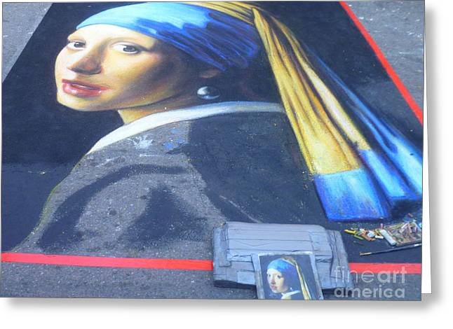 Vintage Painter Greeting Cards - Girl with A Pearl Earring - Chalk artwork Greeting Card by Lingfai Leung