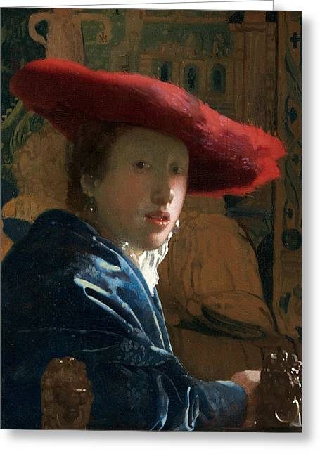 Girl With A Red Hat Greeting Card by Jan Vermeer